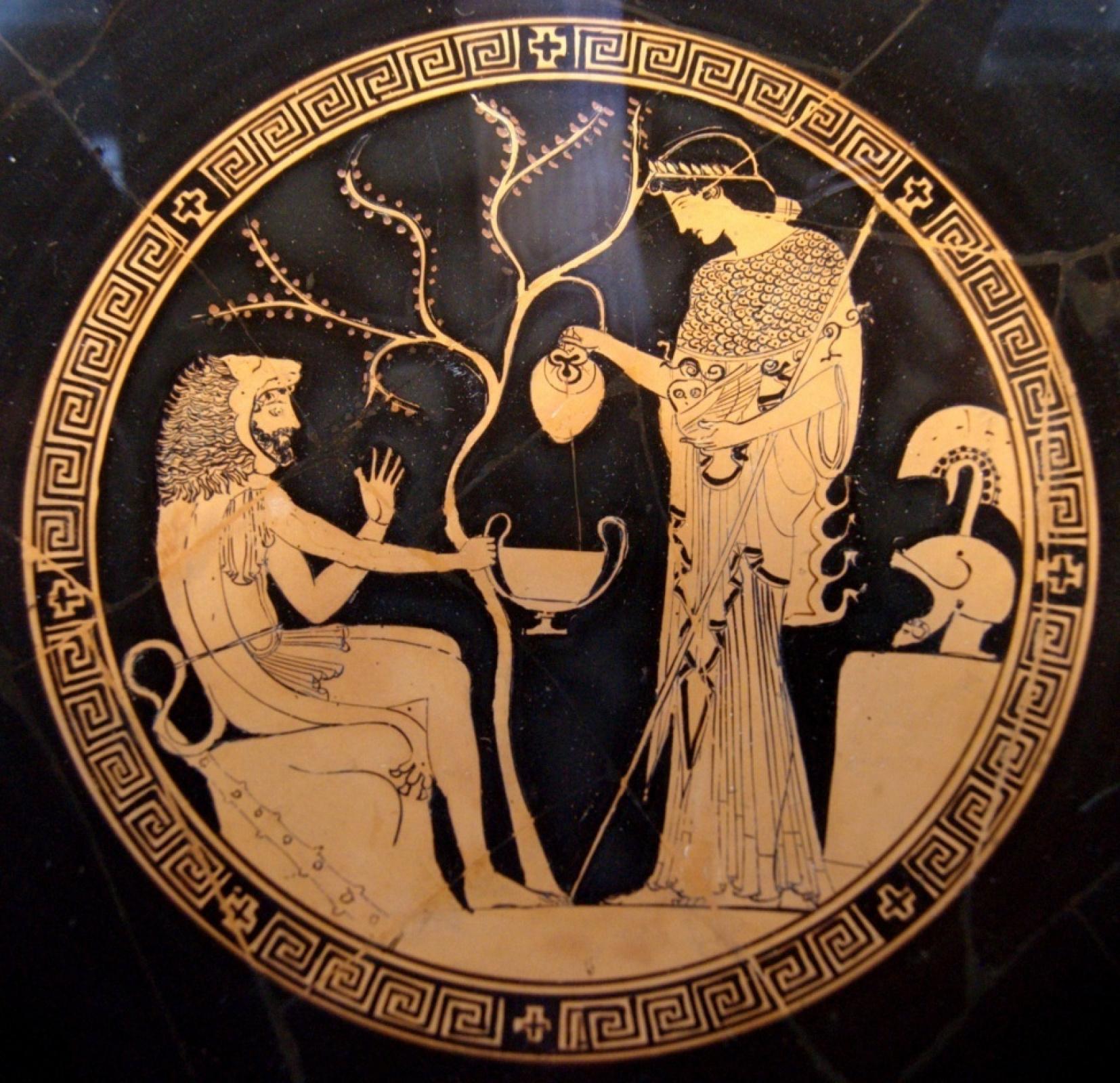 Античная Вазопись. Геракл дарит яблоки Гесперид Афине