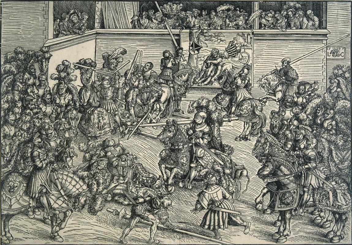 Лукас Кранах Старший. Турнир на фоне ковра с Самсоном