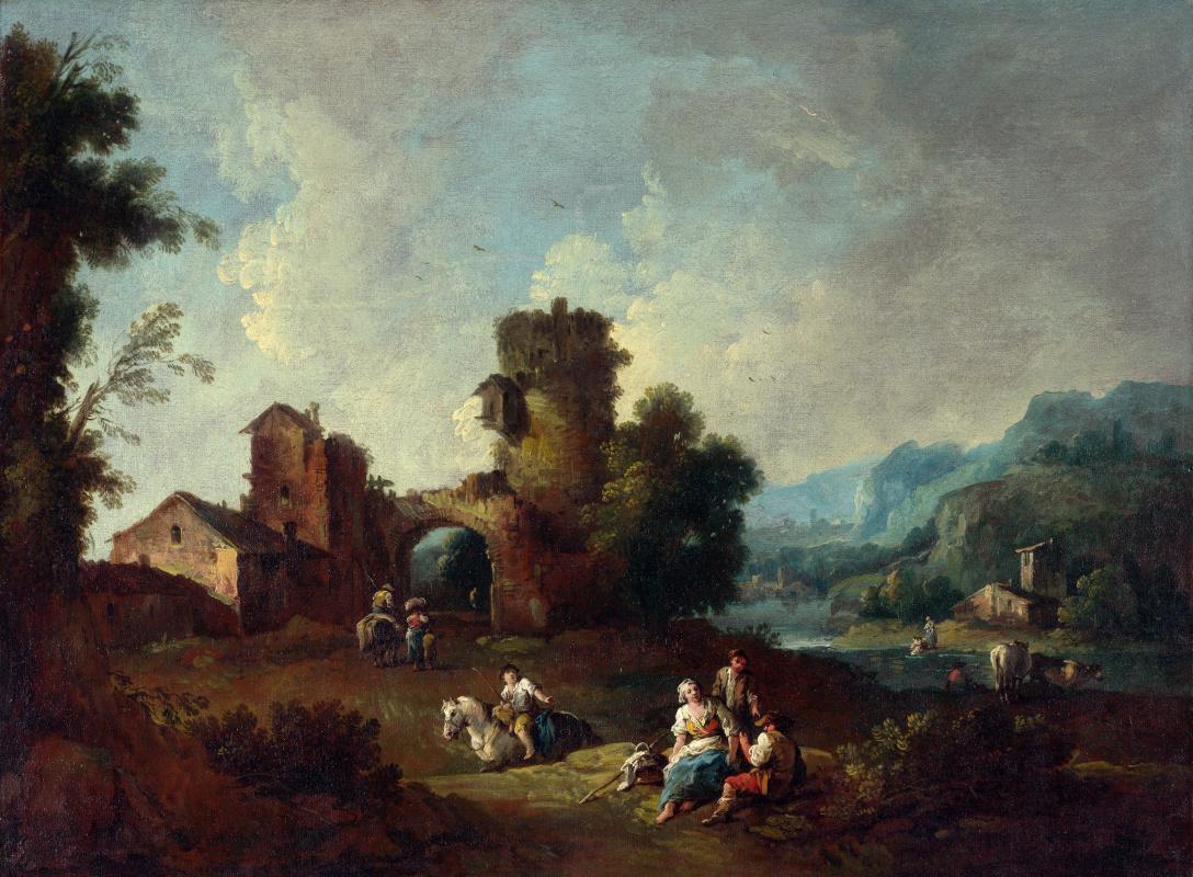 Заис Джузеппе. Пейзаж с разрушенной башней