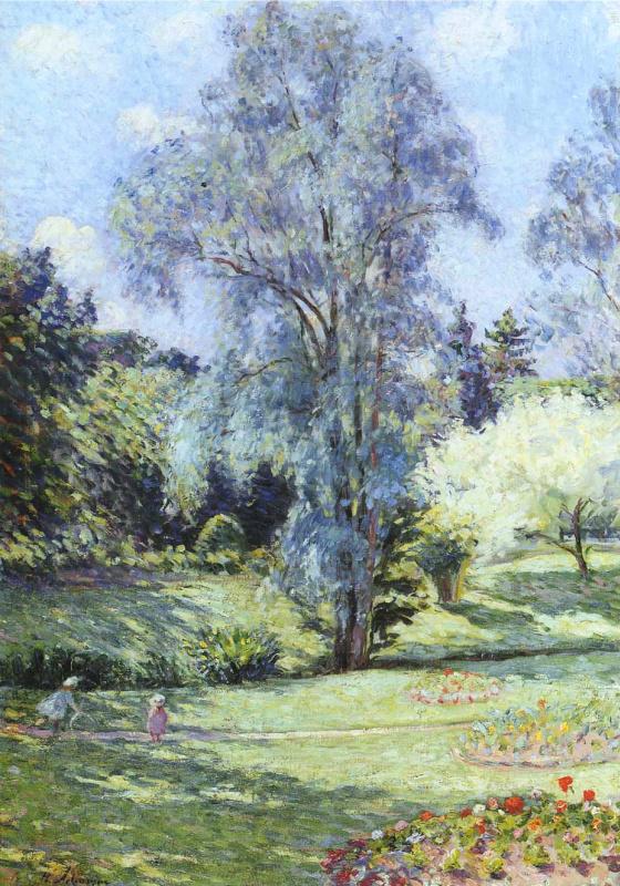 Henri Lebasque. A child plays in the garden