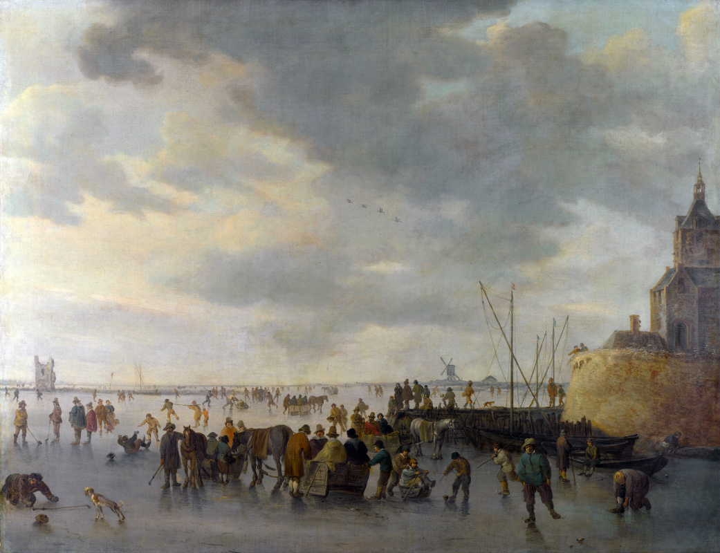 Jan van Goyen. Scene on the ice near Dordrecht