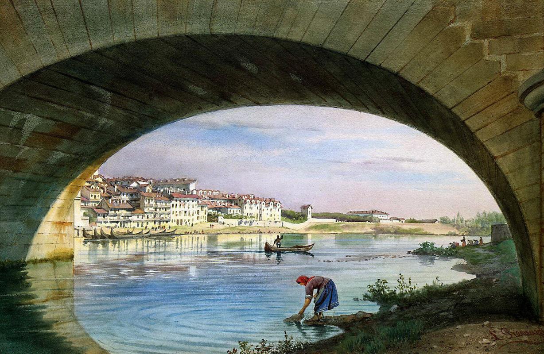 Луиджи Премацци. Вид Турина с мостом