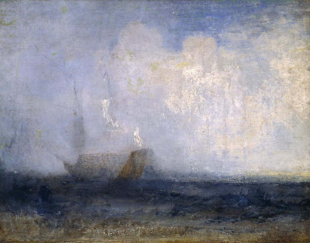 Joseph Mallord William Turner. Seascape with sailing boat and ship