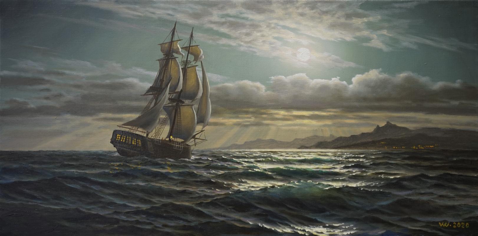 Valentin Vasilievich Vlaschenko. Sailing on a full moon.