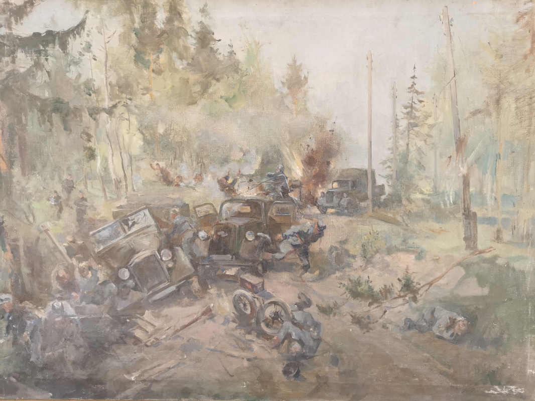 Konstantin Sergeevich Belokurov. The defeat of the fascist convoy by the partisans (sketch for the painting)