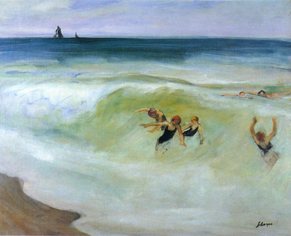 Анри Лебаск. Купальщицы в море