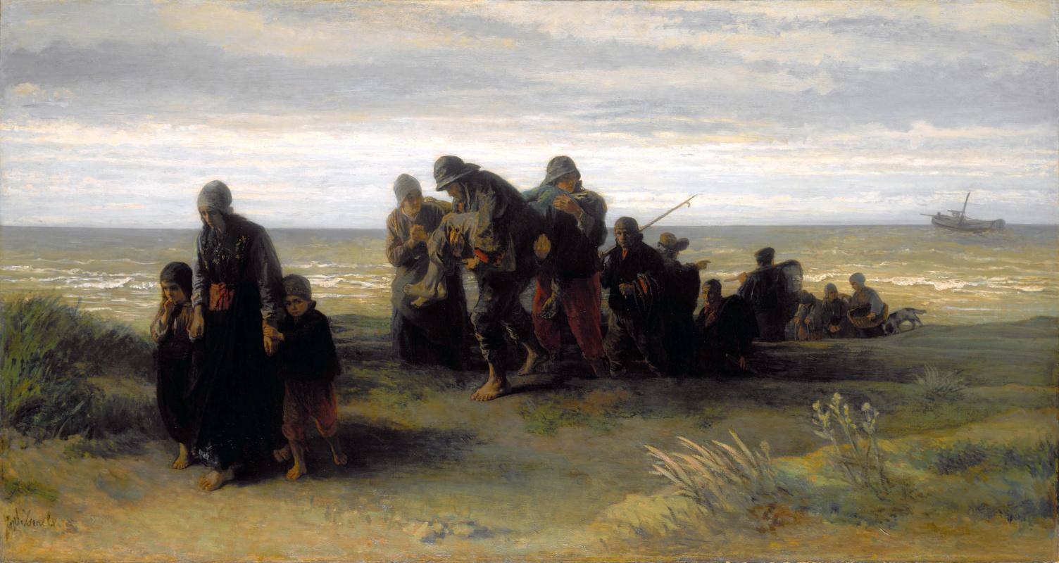 Йозеф Исраэлс. Рыбаки несут утопленника