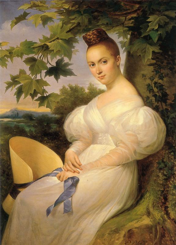 Мерри Блондель. Портрет женщины сидящей под деревом