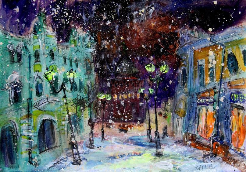 Ilya Pavlovich Spichenkov. Snowy night on the cover