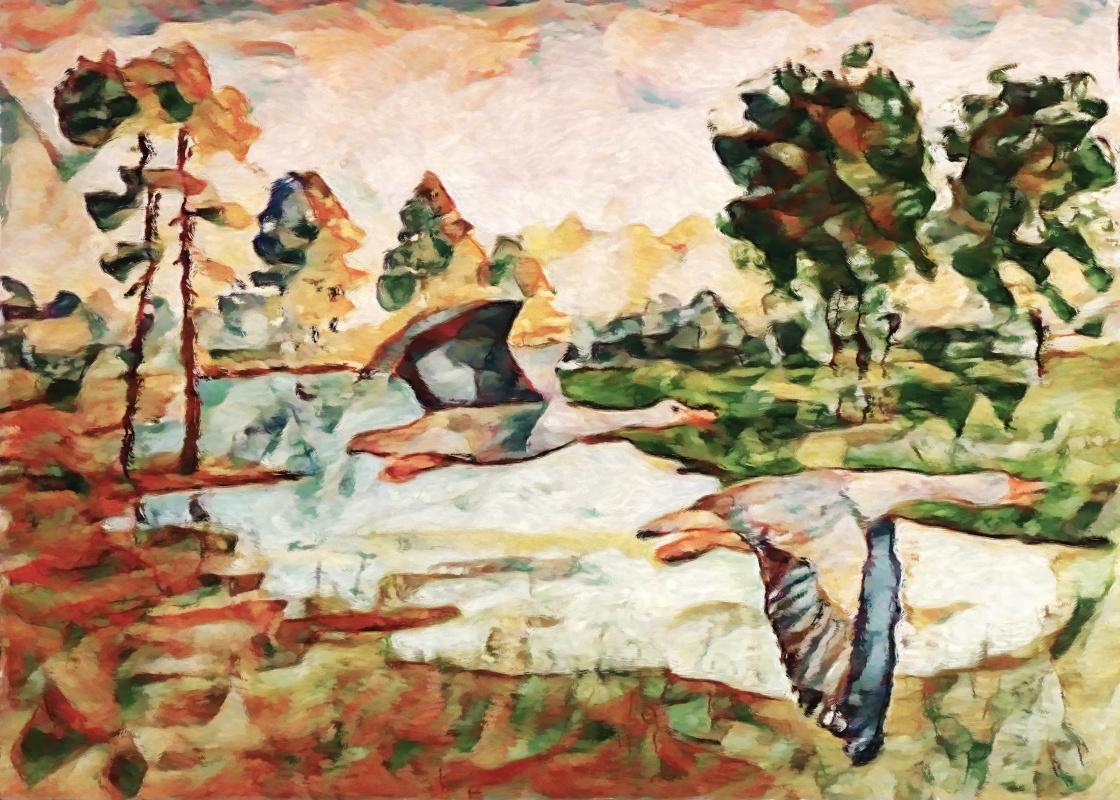 Vyacheslav Krutel. Geese over the lake