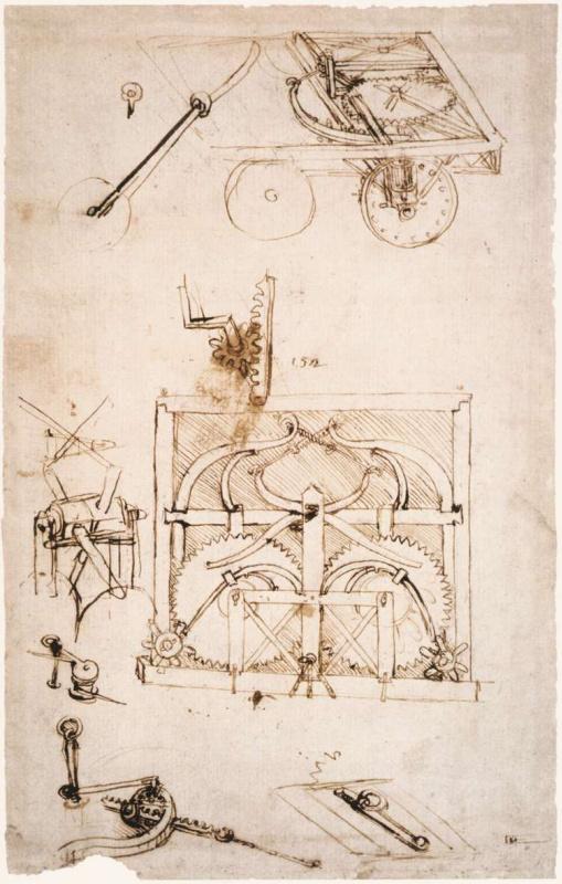Леонардо да Винчи. Чертеж автомобиля