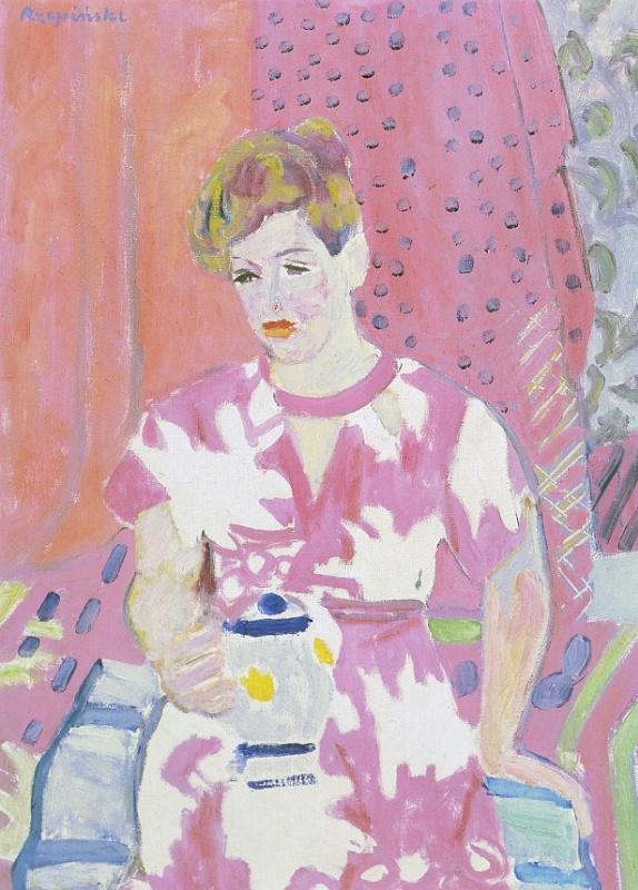 Чеслав Рзепински. Женщина в розовом платье