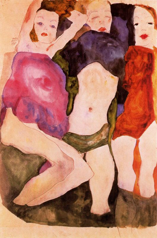 Egon Schiele. Three girls