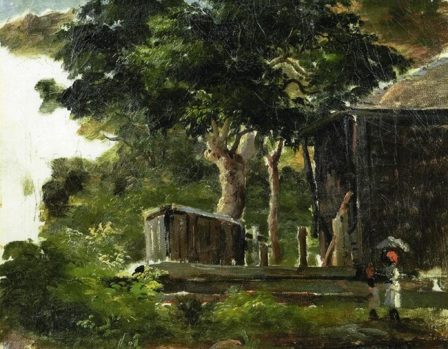 Камиль Писсарро. Пейзаж с домом в лесу, Сент-Томас