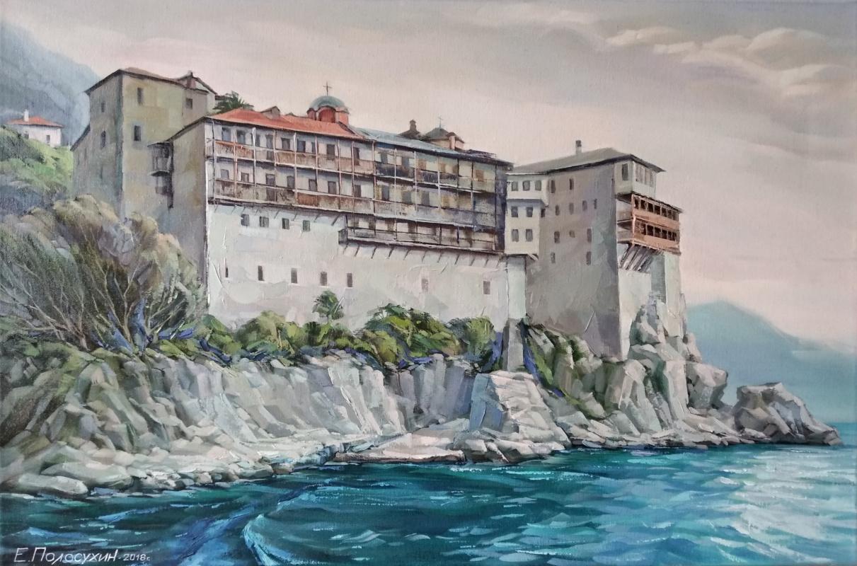 Evgeny Fedorovich Polosukhin. Athos. Gregoriates monastery.