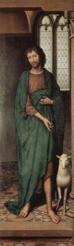Ганс Мемлинг. Алтарный триптих церкви Святой Марии в Любеке, правая створка внешняя сторона: св. Иоанн Креститель
