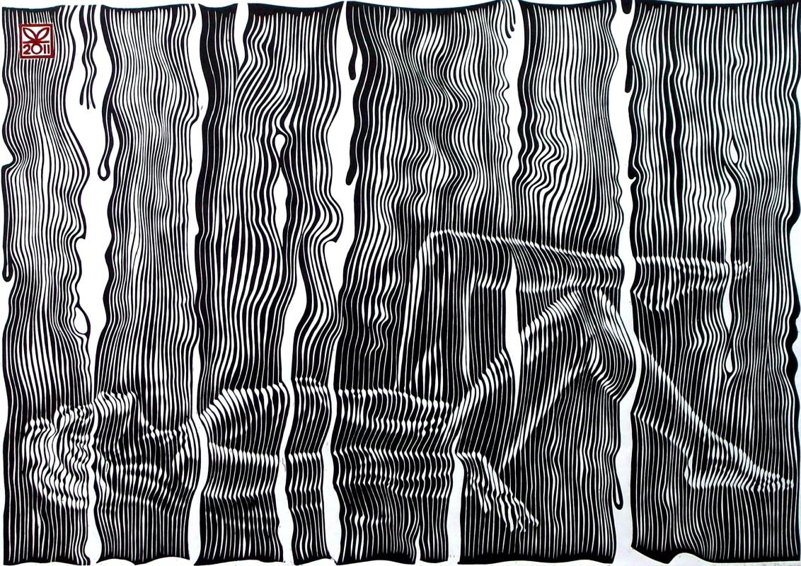 "Vladimir Kataev. ""Zaves-2"", 45 x 66, engraving on linoleum, 2011"