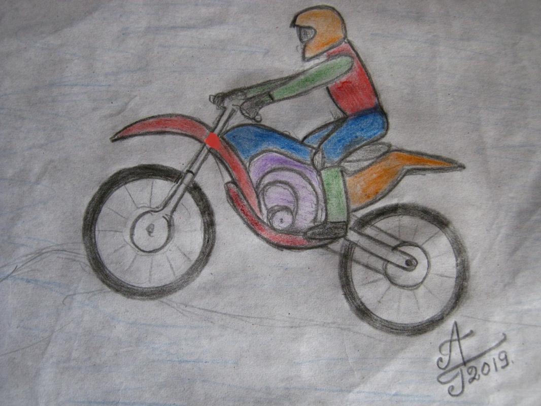 "Alexey Grishankov (Alegri). ""Motocross"" (Series of drawings Sport-30)"