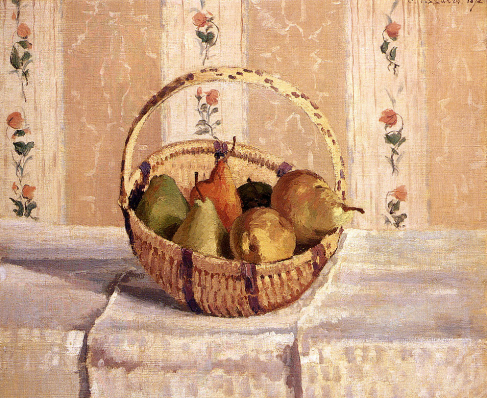 Camille Pissarro. Still life with apples and pears in a round basket