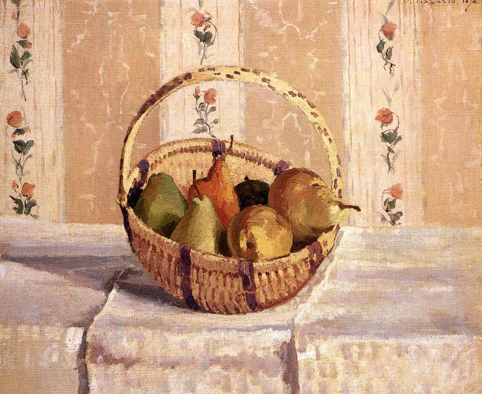 Камиль Писсарро. Натюрморт с яблоками и грушами в круглой корзине