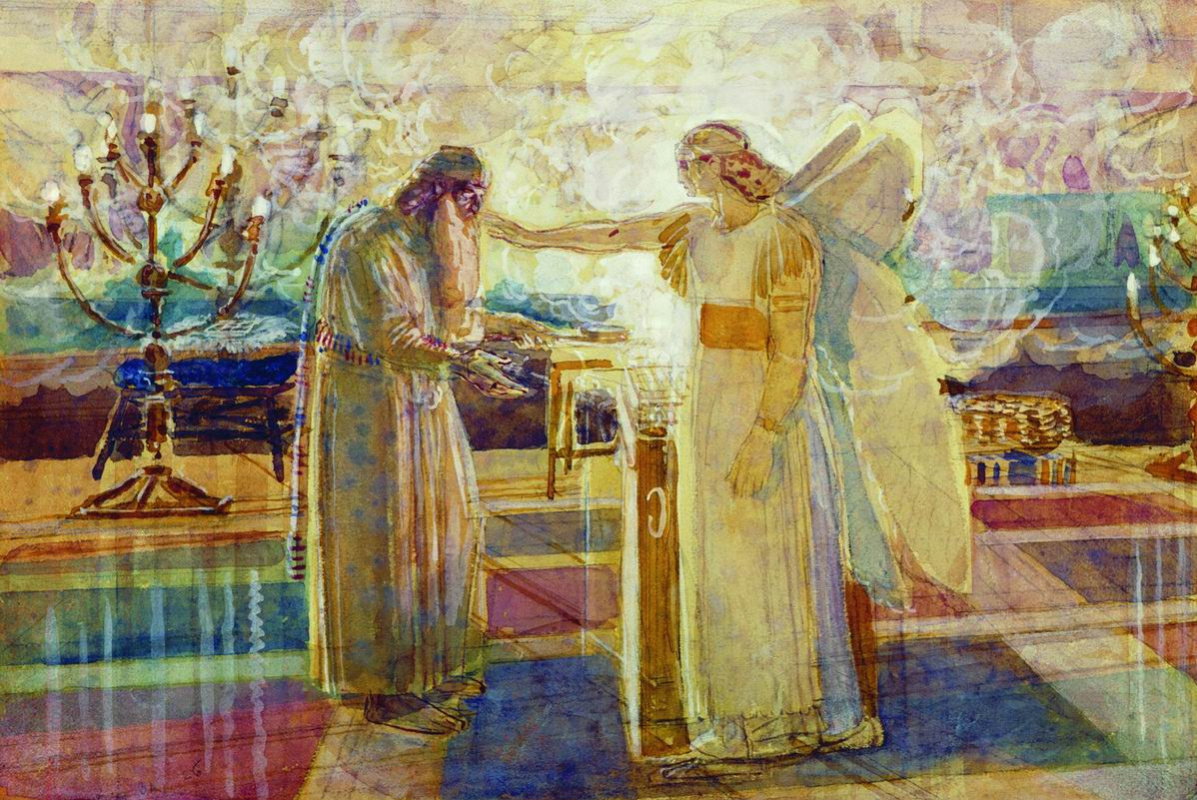 Alexander Andreevich Ivanov. Archangel Gabriel hits Zechariah with silence