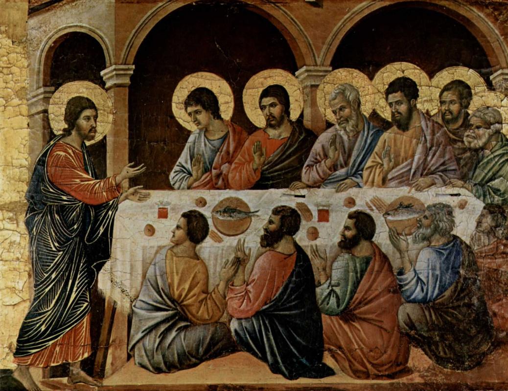 Дуччо ди Буонинсенья. Маэста, алтарь сиенского кафедрального собора. Явление Христа ужинающим апостолам