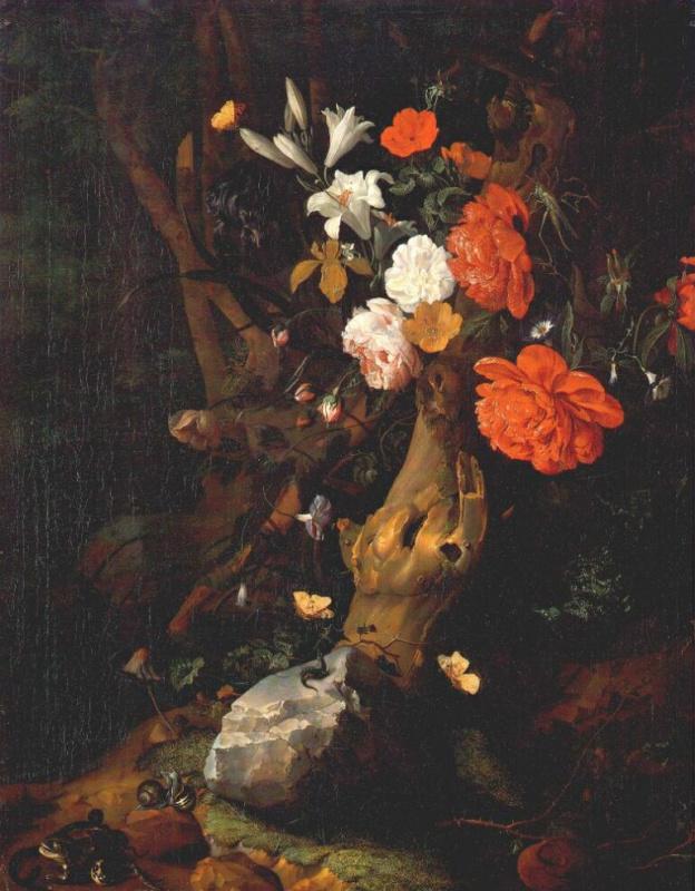 Рашель Рюйш. Цветы на стволе дерева