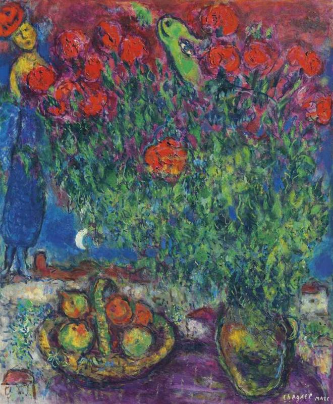 Marc Chagall. Purple tablecloth