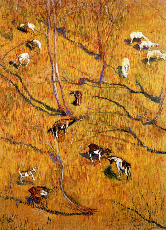 Giovanni Giacometti. Sunny slope with goats