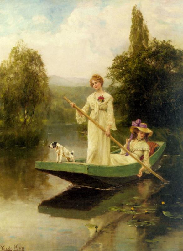 Генри Джон Кинг. Две дамы, плывущие по реке