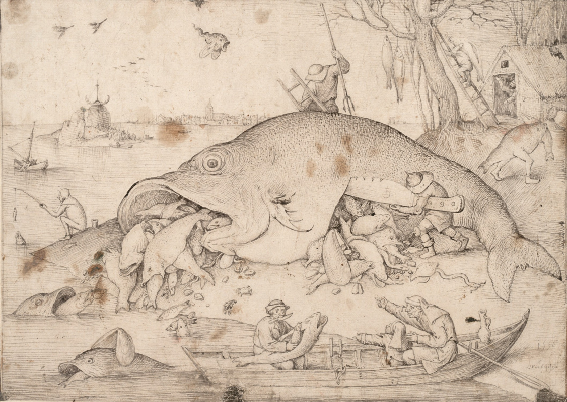 Pieter Bruegel The Elder. Big fish eat small fish
