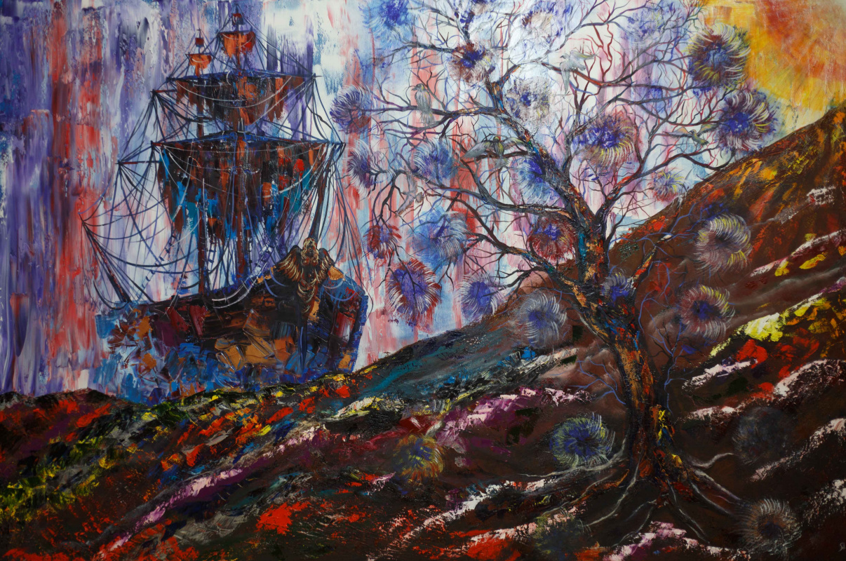 """Alla Struchayeva. The painting """"The Sky Travel of the Flying Dutchman"""""""