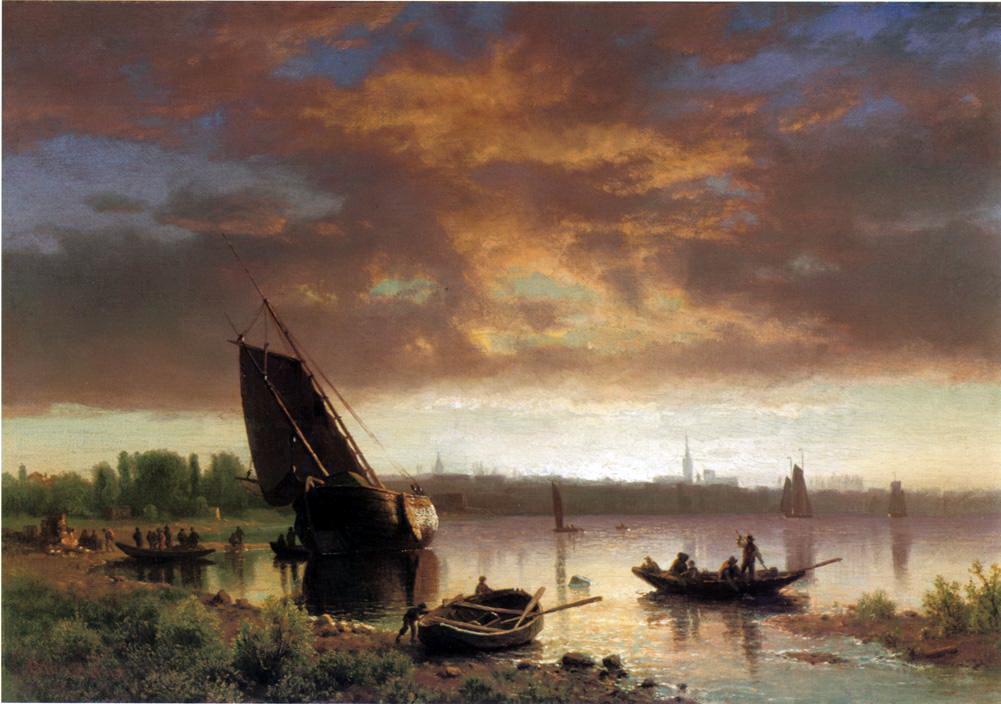 Альберт Бирштадт. Лодки в заливе