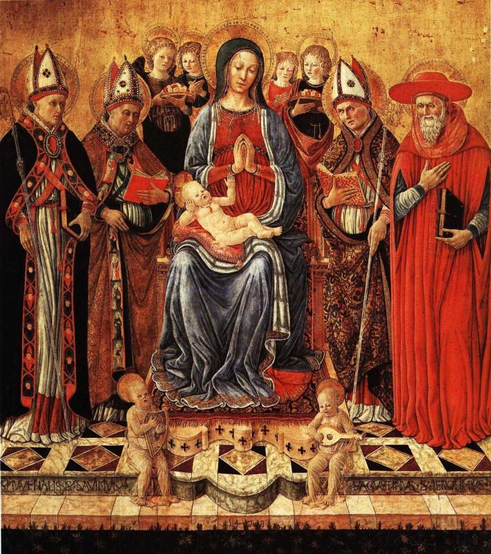 Джованни Боккати. Мария с младенцем на троне в окружении святых Ювеналия, Сабина, Августина, Иеронима и шести ангелов