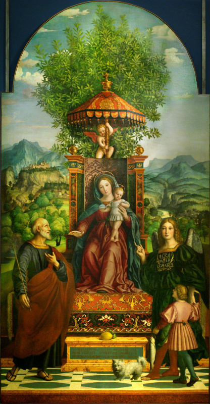 Girolamo dai Libri (Girolamo dai Libri). Madonna with Jesus on the throne, surrounded by St. Joseph, Archangel Raphael and Tobiah