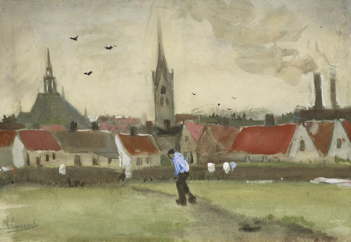 Vincent van Gogh. View of The Hague with Nieuwe Kerk