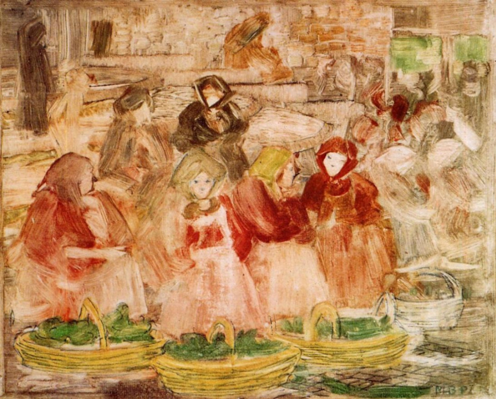 Maurice Braziel Prendergast. Scene at the market