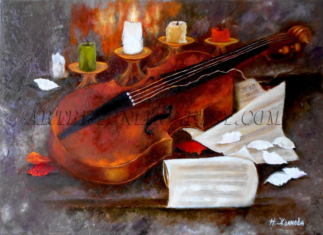 Natalya Zhdanova. Oil painting still life with violin