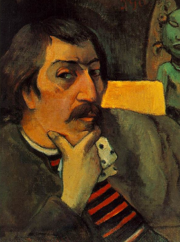 Paul Gauguin. Self portrait with the idol