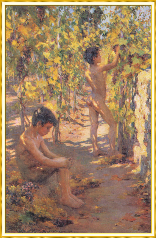 Мальчики собирают виноград на Капри