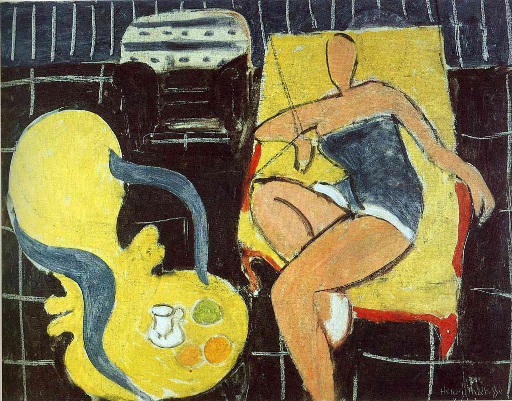 Анри Матисс. Танцовщица и кресло на черном фоне