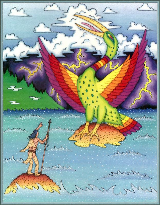 Птица с яркими крыльями