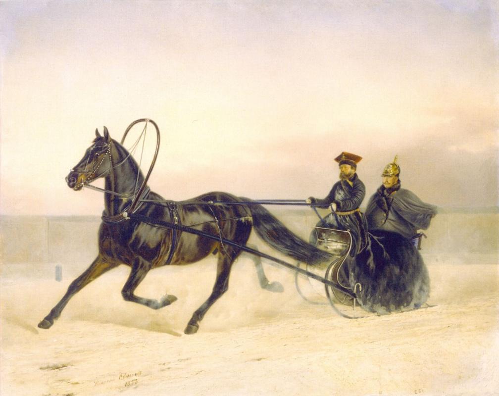 Nikolay Egorovich Sverchkov. Nicholas I in a sleigh