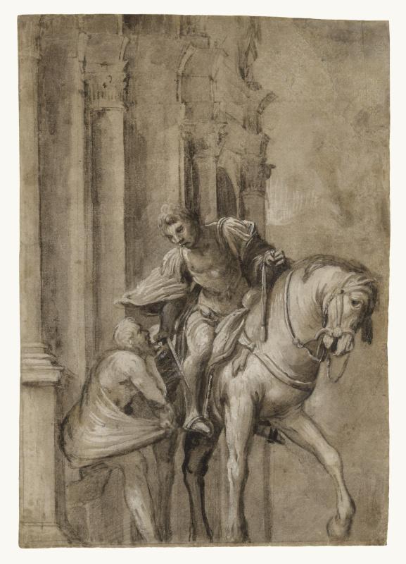 Saint Martin shares his cloak with a beggar