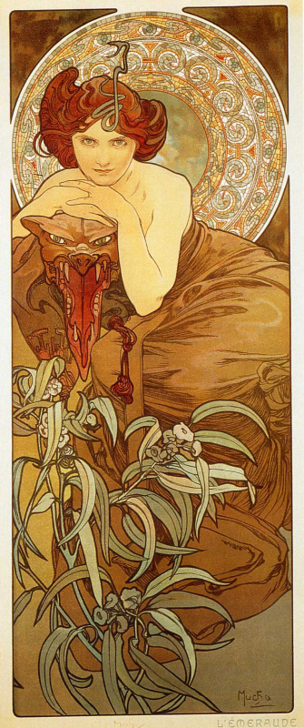 "Alfonse Mucha. Emerald. From the series ""Precious stones"""