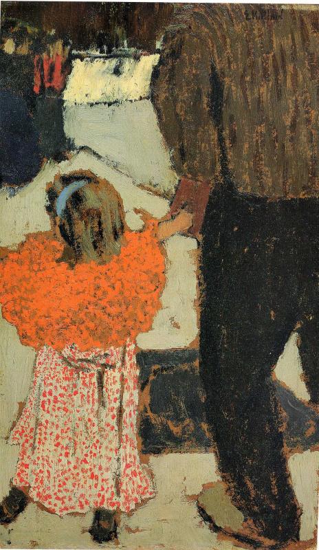 Ребенок с красным шарфом