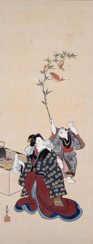 """Утагава Кунисада. Женщина у очага и украшенная ветвь. Серия """"Обычаи двенадцати месяцев"""""""