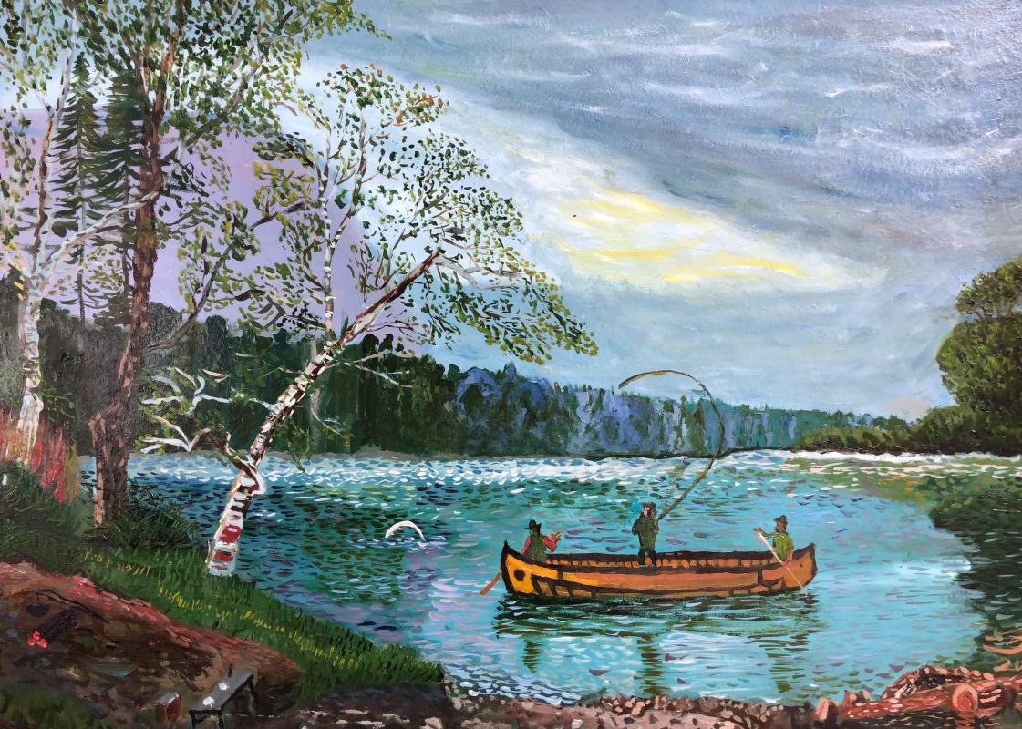 Sergey Vladimirovich Sebini. Fishing. Variation on a theme by Bierchard