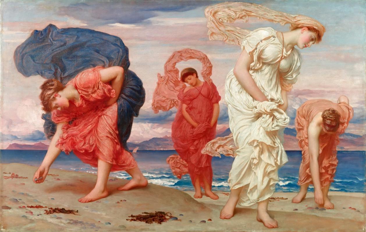 Сэр Фредерик Лейтон. Греческие девушки собирают гальку у моря
