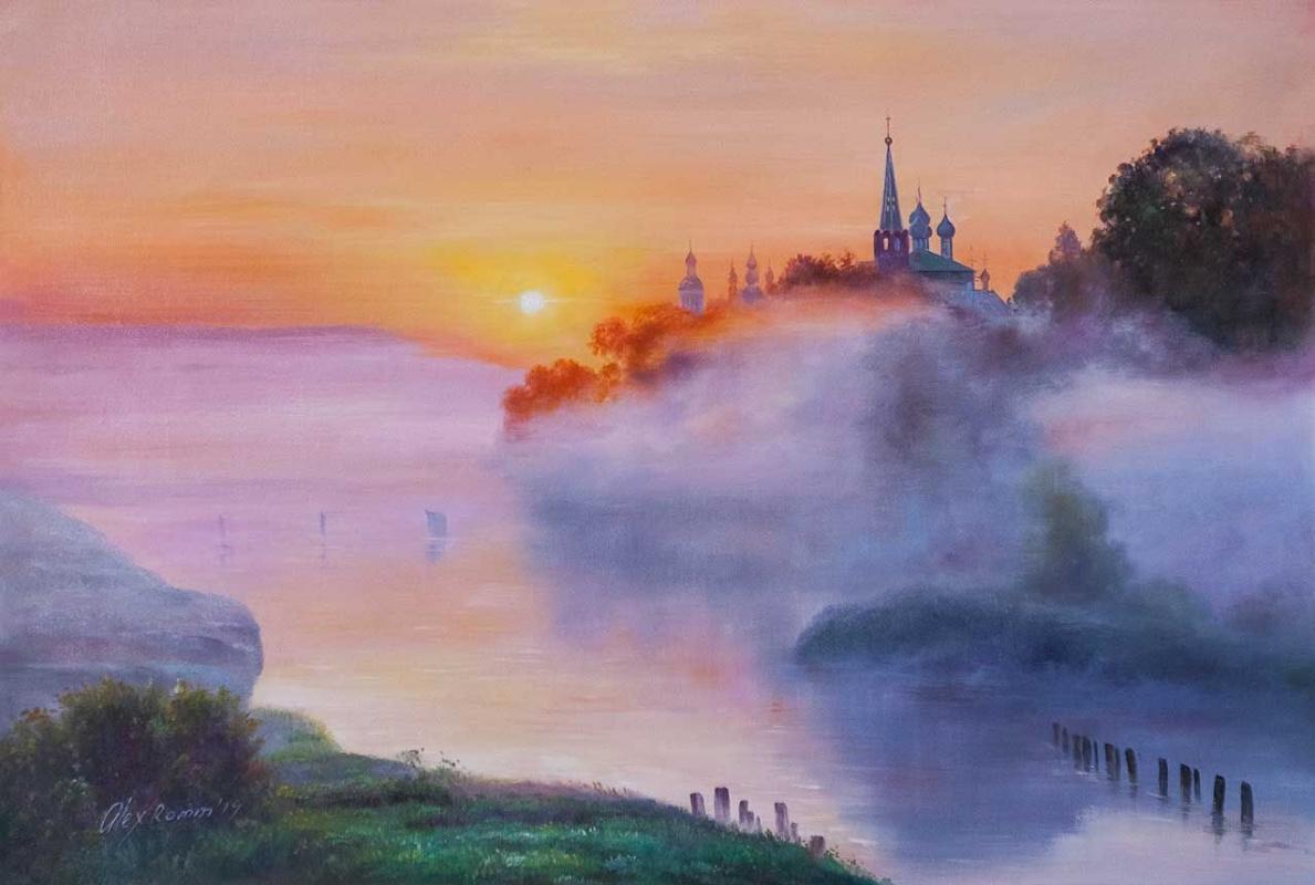 Alexander Romm. On a foggy morning at dawn